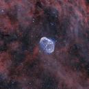 NGC 6888 Crescent nebula, PN G75.5+1.7 Soap bubble nebula en Ha + OIII,                                Jean-François Douroux