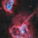 Ic 1805 (NGC896) & Ic1848 (Sharpless 2-199, LBN 667)   The heart & the soul nebula Mosaik (2 Paneel),                                Mario Zauner