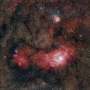 Lagoon & Trifid nebula in an ocean of stars,                                Johannes Bock