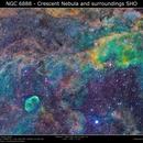 NGC 6888 SH2-105 - The Crescent Nebula and surroundings SHO,                                Brice Blanc