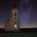 Sibrik church with Perseus Milky way,                                Makár Dávid