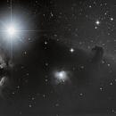 Flame Nebula, Alnitak, NGC 2023 and Horsehead Nebula - B&W Version,                                Tiago Ramires Domezi