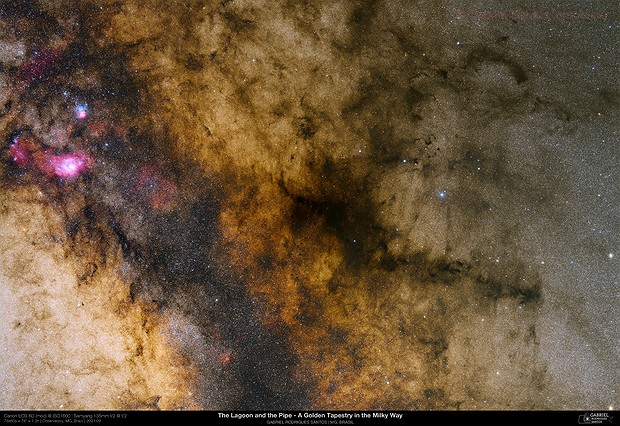 The Lagoon and the Pipe - A Golden Tapestry in the Milky Way - APOD 2021/10/01,                                Gabriel R. Santos (grsotnas)