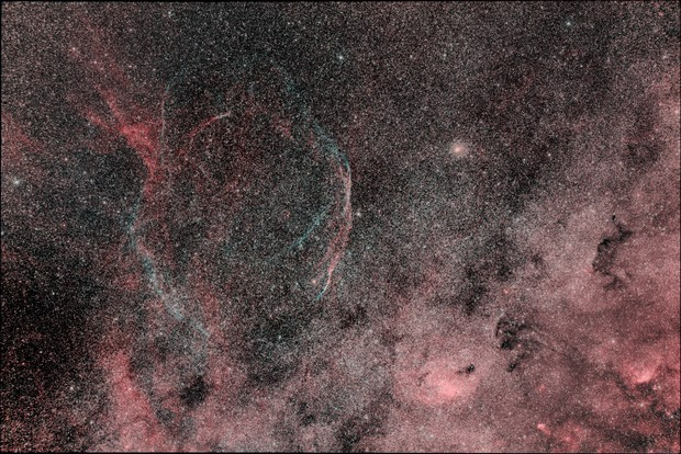 Sh2-91 Super Nova Remnant with stars reduced,                                David Elmore