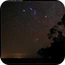 Constellation of Orion with Pleiades in a field of stars,                                Roger Groom